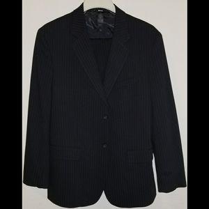 Claiborne Men's Black Pinstrip Suit, 42R / 34x32